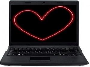 coração no notebook